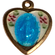 Vintage Gold Tone Metal heart Shaped Enamel Catholic Miraculous Medal