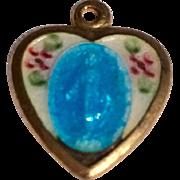 Vintage Gold Tone Metal heart Shaped Enamel Catholic Miraculous Medal