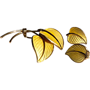 Vintage Sterling Silver Yellow Guilloch Enamel Made In Norway Brooch And Earrings