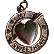 Vintage Sterling Silver Sweetheart Disk Charm