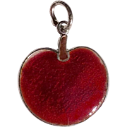 Vintage Sterling Silver Red Enamel Apple Or Cherry Charm
