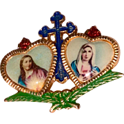 Vintage  Sacred Hearts Of Jesus And Mary Catholic Brooch