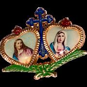 Vintage  Sacred Hearts Of Jesus And Mary Catholic Brooch
