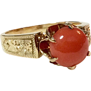 Victorian 18 K Gold Natural Coral Cabochon Ring