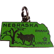 Vintage Sterling Silver Green Enamel Nebraska State Charm