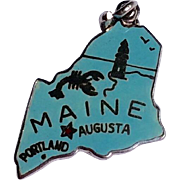 Vintage Sterling Silver Blue Enamel Maine State Charm