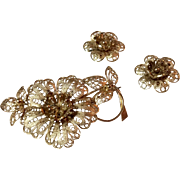 Victorian 835 Silver Gold Gilt Filigree Floral Brooch And Earrings