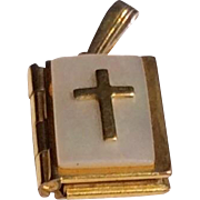 Vintage Gold Filled M O P Bible Charm With Lord's Prayer