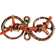 Victorian Gold Filled Branch Coral Brooch