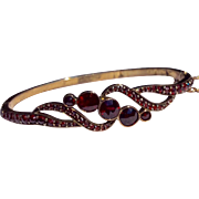 Antique Victorian Bohemian Rose Cut Garnet  Bangle Bracelet