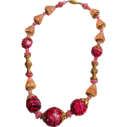 Czech Molded Glass And Brass Necklace