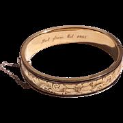 Vintage 12 K  Gold Filled Black Tracery Enamel Hinged Bangle Bracelet