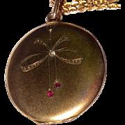 Jugendstil  Art Deco Arts & Crafts Gold Filled Paste Locket & Chain