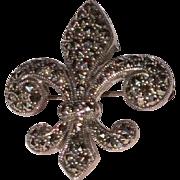 Vintage Sterling Silver Marcasite Fleur de Lis Brooch Pendant
