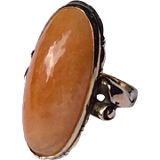 Vintage 10 K Gold Filled Faux Butterscotch Amber Ring