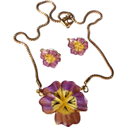 Vintage 1950's Gold Tone Medal Enameled Pansy Necklace & Earrings