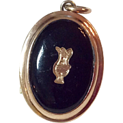 Victorian Gold Filled Black Onyx Double Photo  Mourning Locket