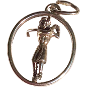 Vintage 3 D Mechanical Sterling Silver Lady Golfer Charm