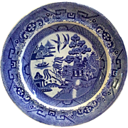 "Early English 9""Blue Willow Staffordshire Transferware Plate"