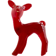 Vintage Celluloid Rudolph The Red Nose Reindeer Brooch