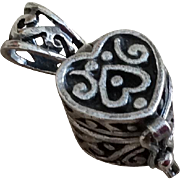 Vintage Sterling Silver Heart Charm Pendant