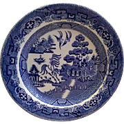 Early English Blue Willow Transferware Plate