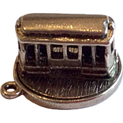 Vintage Sterling Silver Mechanical Trolley Car Charm