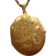 Vintage Gold Filled Double Photo Locket & Chain
