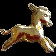Vintage Sterling Silver Donkey Brooch