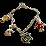 Vintage Sterling Silver Enamel Christmas Charm Bracelet