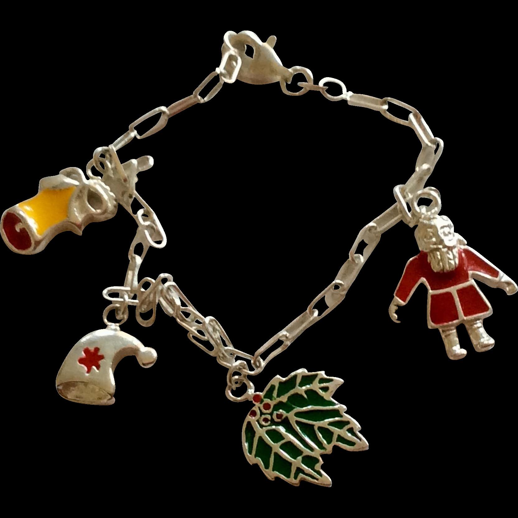 Best Charm Bracelet: Vintage Sterling Silver Enamel Christmas Charm Bracelet