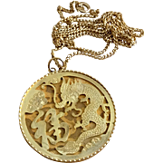 Vintage Gold Tone Metal Oriental Dragon Pendant Necklace