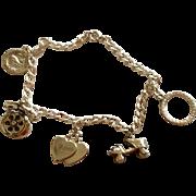 Vintage Sterling Silver Charm Bracelet 1950's