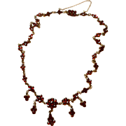 Antique Victorian Rose Cut  Bohemian Garnet Necklace