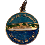 Vintage Sterling Silver Enamel Portland Yarmouth The Prince Of Fundy Charm