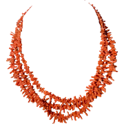 Vintage Natural Salmon Branch Coral Triple Strand Necklace