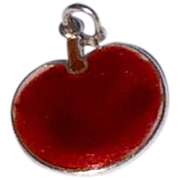 Vintage Sterling Silver Red Enamel Apple Charm