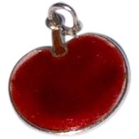 Vintage Sterling Silver Red Enamel Apple Charm