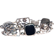 Vintage Simmons Sterling Silver Black Onyx Flexible Link Bracelet
