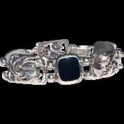 Vintage Simmons Sterling Silver Black Onyx Flexible Link Bracelet
