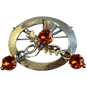 Vintage Silver Tone Metal Scottish Amber Rhinestone Thistle Brooch