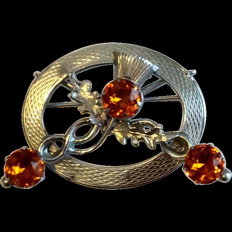 Vintage Silver Tone Metal Scottish Amber Rhinestone Thistle Brooch