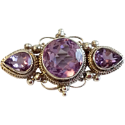 Vintage Sterling Silver Faceted Amethyst Brooch
