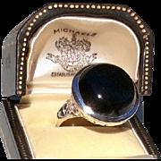 Vintage Sterling Silver Black Onyx Large Ring Size 10 1/2