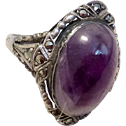 Art Deco German Sterling Silver Genuine Amethyst & Marcasite Ring Size 5