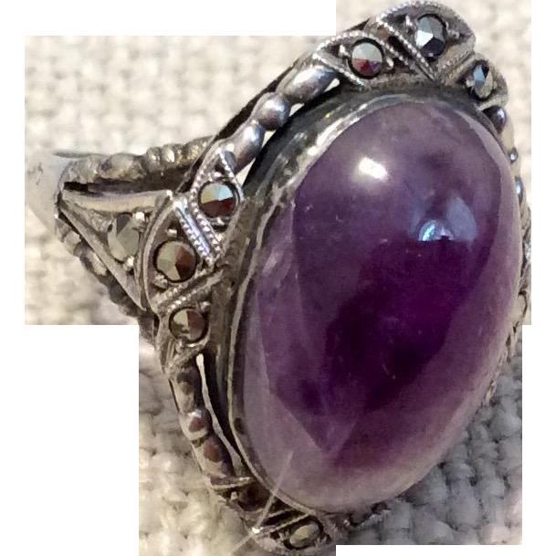 Art Deco German Sterling Silver Genuine Amethyst & Marcasite Ring Size 5