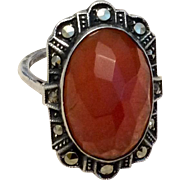 Art Deco Sterling Silver Faceted Carnelian & Marcasite Ring Size 4