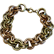 Vintage Krementz Tri Color Gold Filled Double Link Bracelet