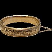 Vintage 12 K Gold Filled Binder Brothers Black Enamel Hinged Bangle Bracelet