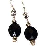 Vintage Handmade Sterling Silver Black Onyx Dangle Earrings With Fleur D Lis